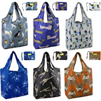 Animal-Pattern-Grocery-Bags-Reusable Shopping Tote Bags X Large 50LBS Cute Foldable Bag with Attached Pouch Bulk 6 Pack…