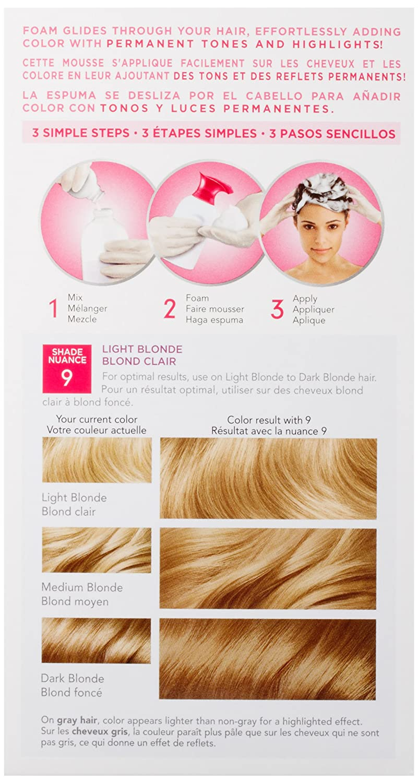 Amazon Clairol Nice N Easy Foam Hair Color 9 Light Blonde 1