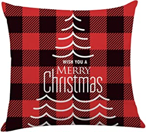 Ku-dayi Merry Christmas Tree Pillow Cover Case Red Black Buffalo Plaids Throw Pillow for Christmas Decor Farmhouse Christmas Decorations Cushion Case for Sofa Couch