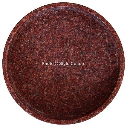 Amazon Com Stylo Culture Indian Round Red Granite Stone Tray Petite