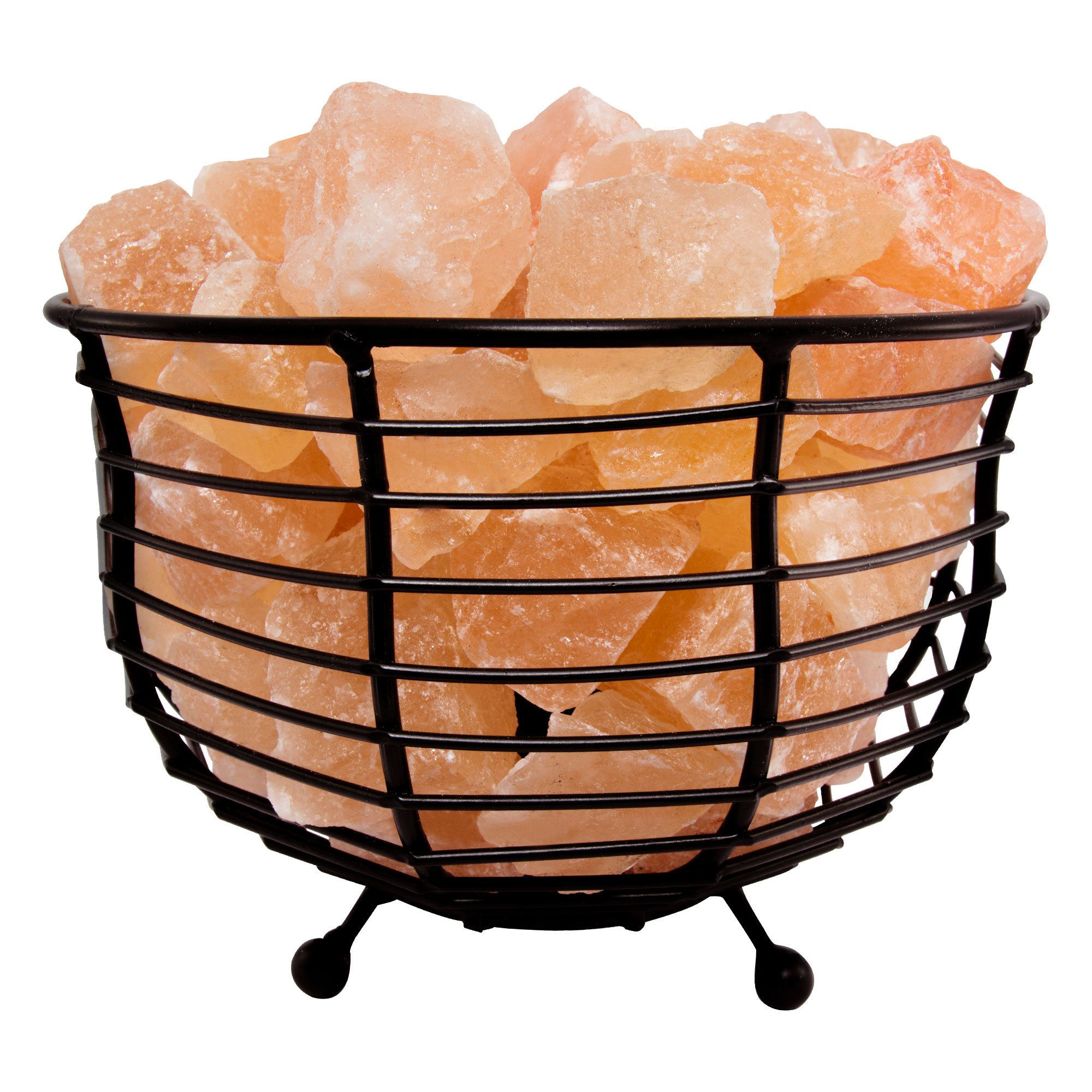Fab Glass and Mirror SL-BLB93 Metal Basket Pure Himalayan Crystal Rock Pink Salt Lamp 8 x 8