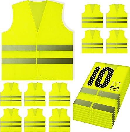 PeerBasics, 10 Pack, Yellow Reflective High Visibility Safety Vest, Hi Vis Silver Strip, Men & Women, Work, Cycling, Runner, Surveyor, Volunteer,