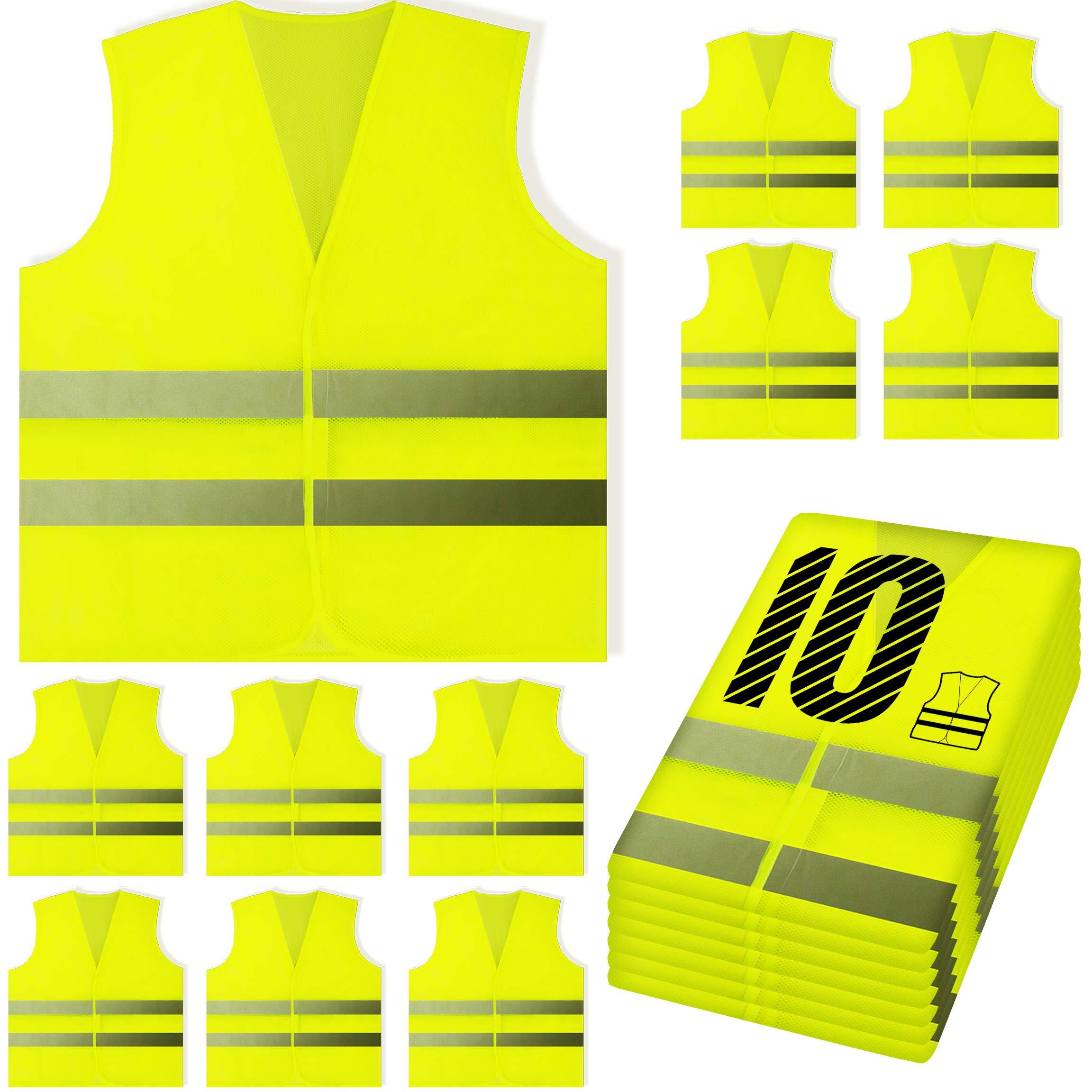 PeerBasics, 10 Pack, Yellow Reflective High Visibility Safety Vest, Hi Vis Silver Strip, Men & Women, Work, Cycling, Runner, Surveyor, Volunteer, Crossing Guard, Road, Construction, Neon (Mesh, 10) by PeerBasics