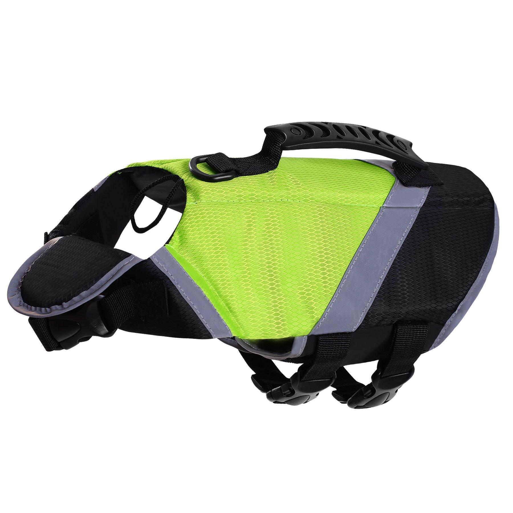 SAWMONG Dog Life Jacket, Pet Swim Vest, Dogs Life Preserver, Floatation Coat with Reflective Stripe Bulldog Terrier Corgis Saver in Orange Green for Small Medium Large Dogs Swimming Boating Hunting