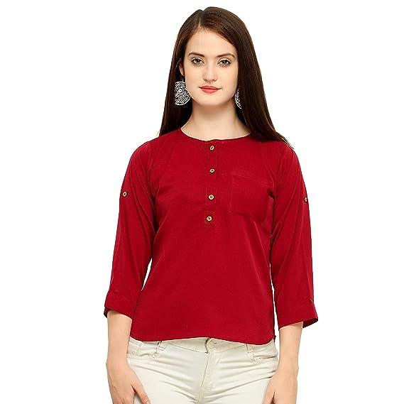 ed4e98cf357000 Vrati Fashion Women's Plain Regular Fit Top(D NO-82-1): Amazon.in ...