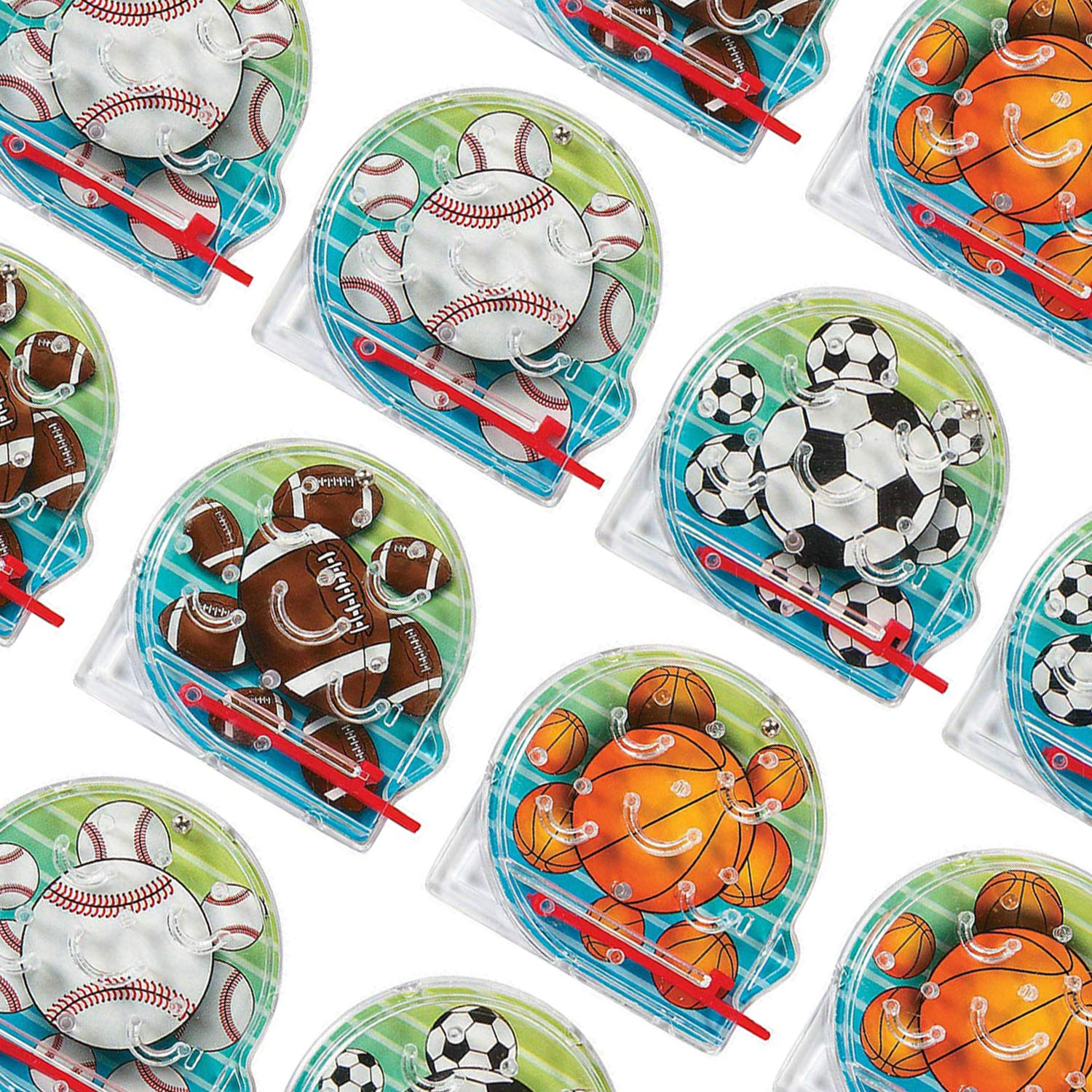 Fun Pack of 8 Assorted Colored Sports Balls Pictures Bag Stuffers Mini Pinball Bagatelle Game Toy Prize Kayco USA Kidsco Mini Sports Pinball Games 2 Inches for Kids Great Party Favors Gift