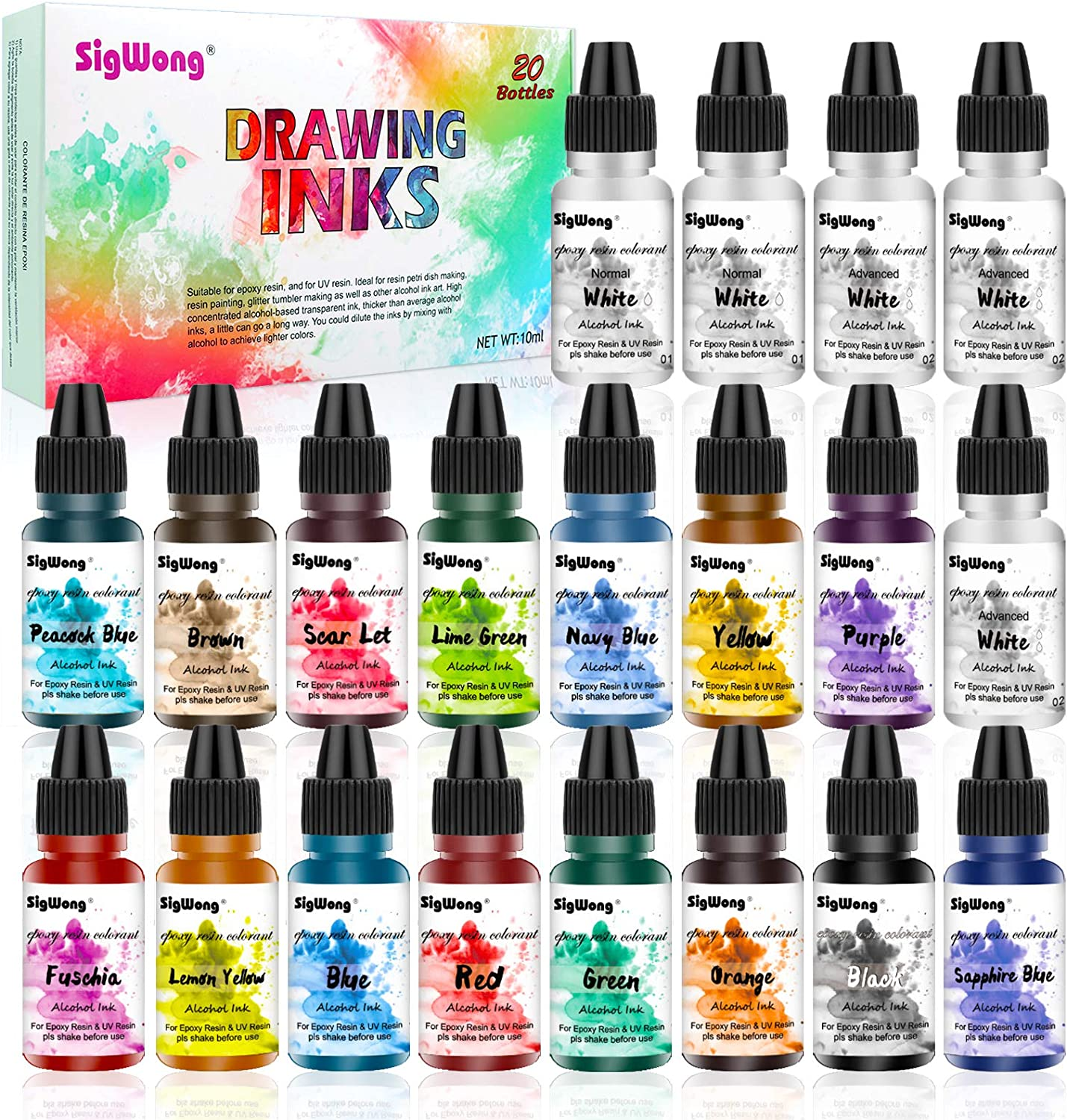 Alcohol Ink Set - 20 Bottles Vibrant Colors High Concentrated Alcohol-Based Ink, Concentrated Epoxy Resin Paint Colour Dye Great for Resin Petri Dish, Coaster, Painting, Tumbler Cup Making(10ml Each)