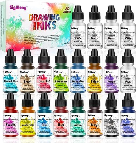 Alcohol Ink Set - 20 botellas vibrantes de alta concentración de tinta a base de alcohol para la fabricación de placas de Petri de resina, pintura de ...