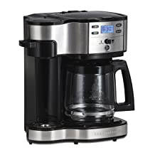 Hamilton Beach (49980A) Single Serve Coffee Maker and Coffee Pot Maker, Programmable, Black/Stainless Steel