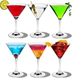 Rink Drink Crystal Martini Cocktail Glasses - 200ml (7oz) - Gift Box Of 6