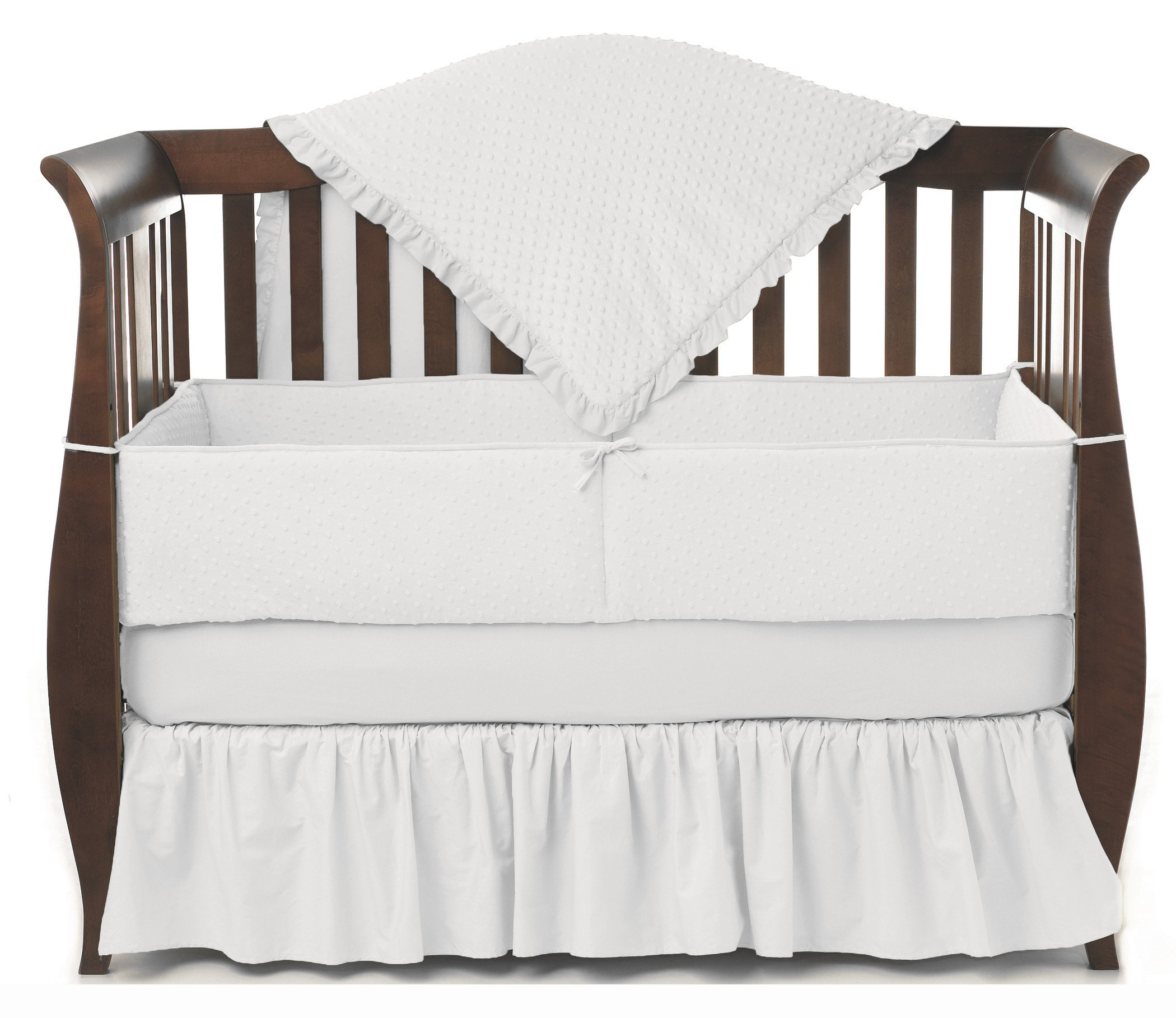 American Baby Company Heavenly Soft Minky Dot 4-Piece Crib Bedding Set, White