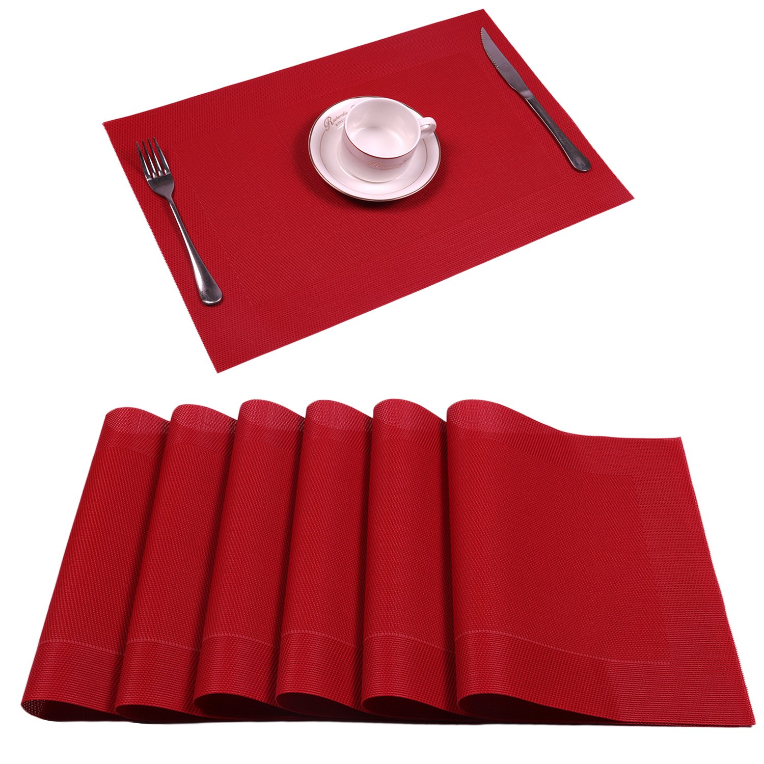 Placemat,U'Artlines Crossweave Woven Vinyl Non-slip Insulation Placemat Washable Table Mats Set (6pcs placemats, DK Red)