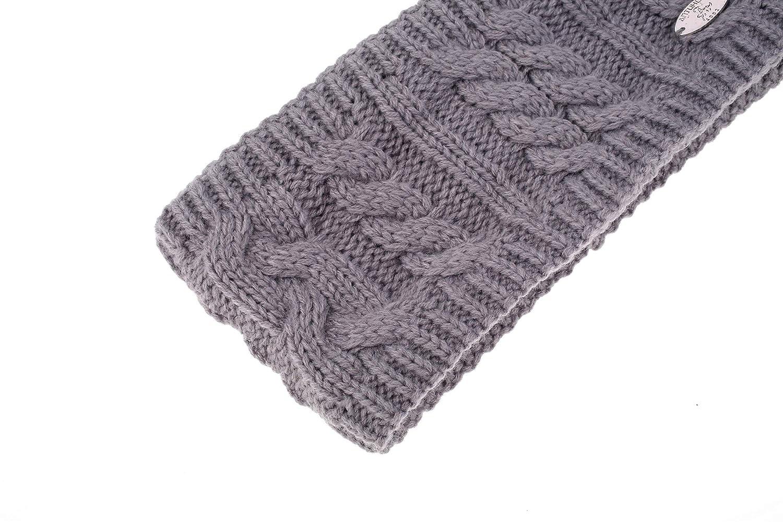 AnJuHoPa Strick Stirnband cabel Knit Kopfband Ohrenschutz Haarband mit Fleecefutter
