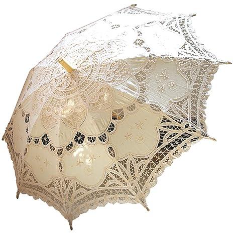 80583e866 Amazon.com: AEAOA Handmade Ivory Lace Parasol Umbrella Wedding Bridal 30  Inch Adult Size: Garden & Outdoor