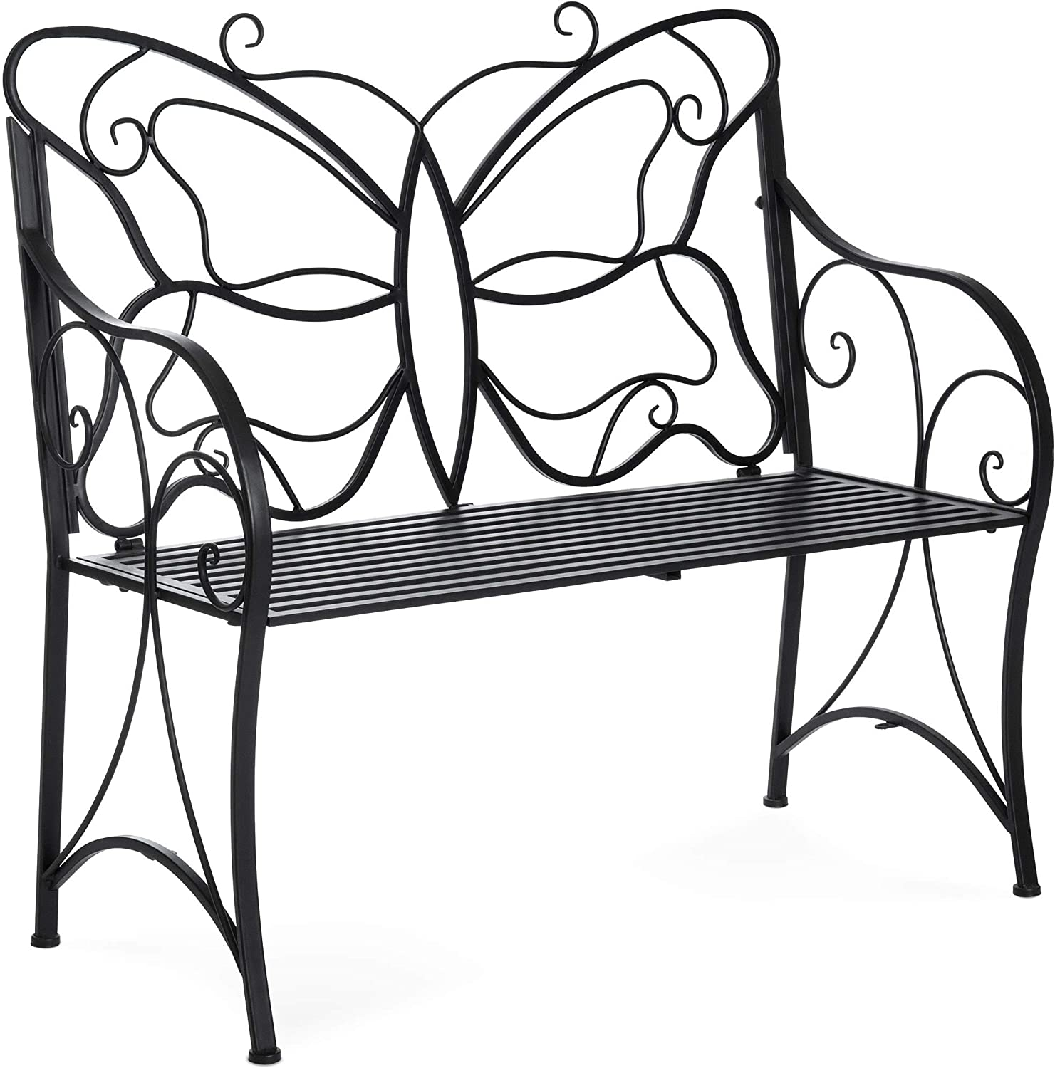 Best Choice Products 40in 2-Person Metal Butterfly Design Patio Garden Bench Furniture w Armrests – Black