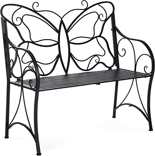 Best Choice Products 40-inch 2-Person Decorative Metal Iron Patio Garden Bench Outdoor Furniture for Front Porch, Backyard, Balcony, Deck w Elegant Butterfly Design, Curved Armrests, Black