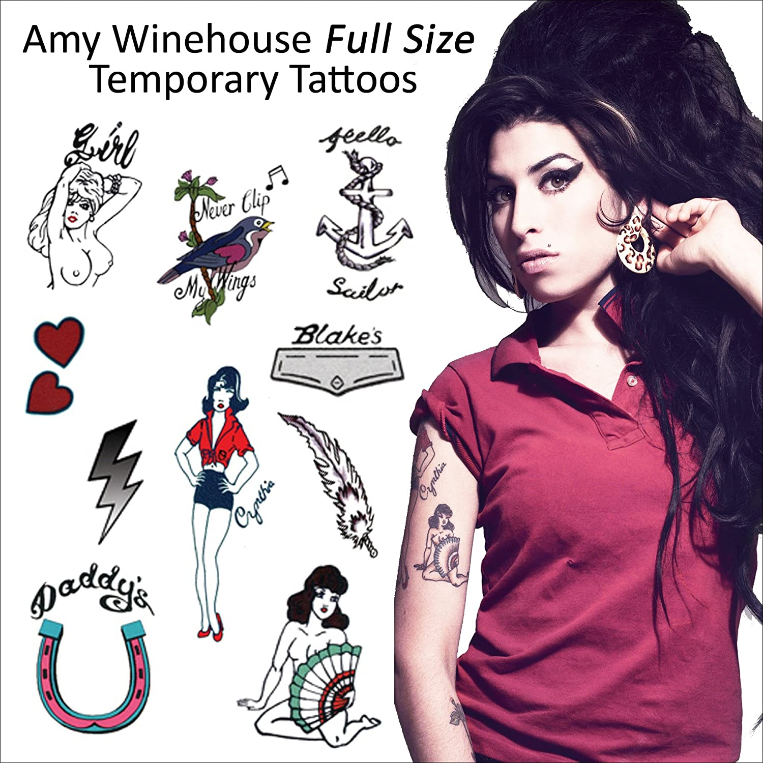 Amy Winehouse SET : (Full Size Tattoos) Temporary Tattoo