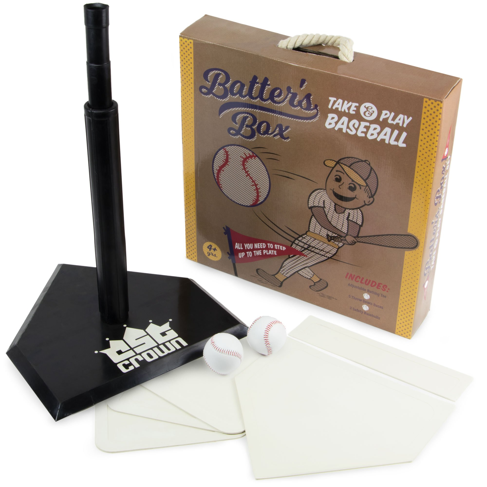 K-Roo Sports Batter's Box - Take & Play Baseball Set, Deluxe Youth Tee-Ball Starter Pack - Includes an Adjustable Batting Tee, 5 Rubber Bases, 2 Safety Balls, Carrying Case by K-Roo Sports