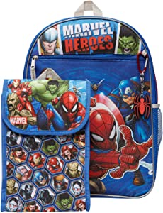 Marvel Avengers Backpack Combo Set - Avengers Boys 4 Piece Backpack Set - Backpack, Lunchbox, Water Bottle and Carabina(Marvel Universe)