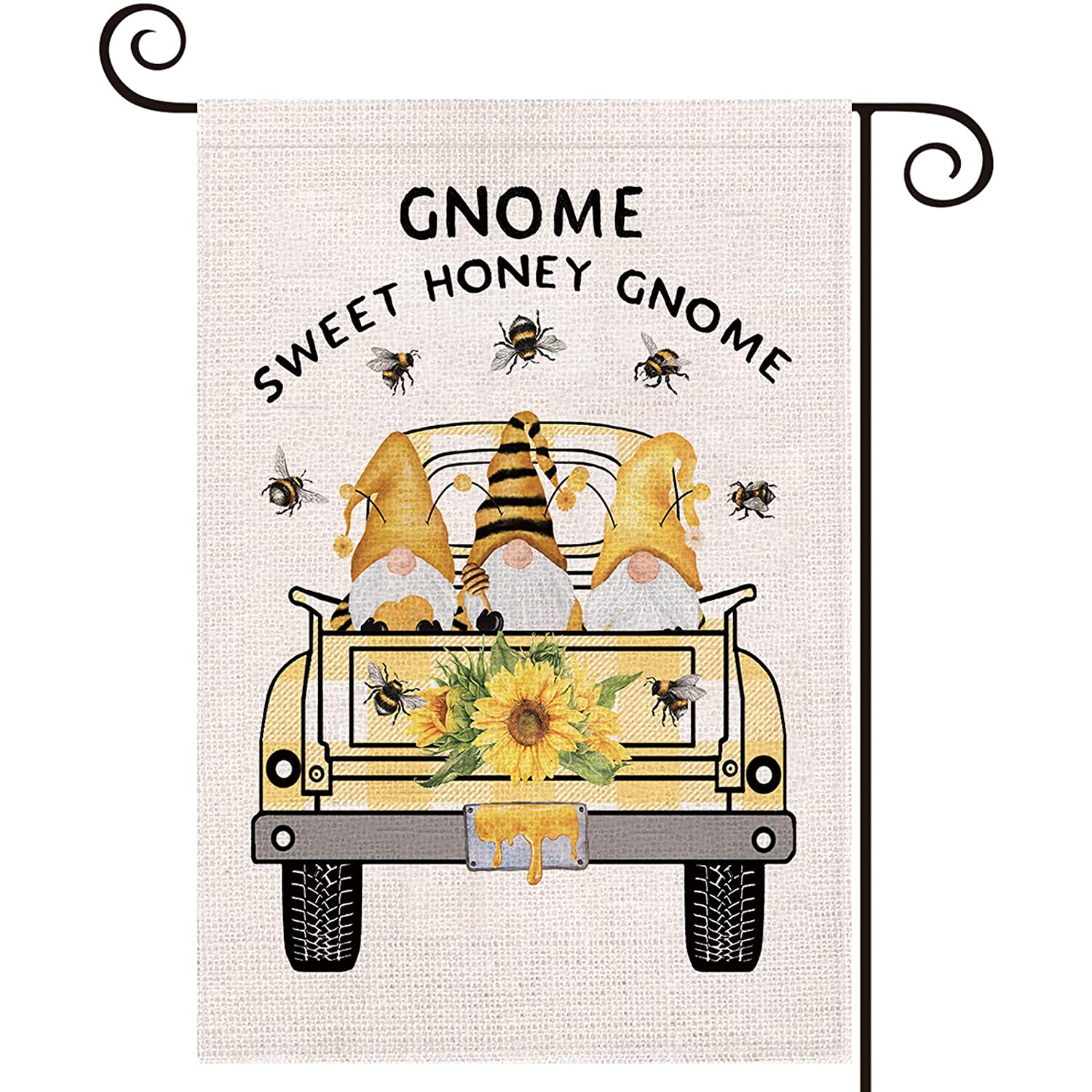 LARMOY Summer Truck with Sunflower Bee Gnomes Garden Flag 12.5 x 18 Inch Vertical Double Sided, Small Holiday Party Yard Sign for Farmhouse Outside Decoration