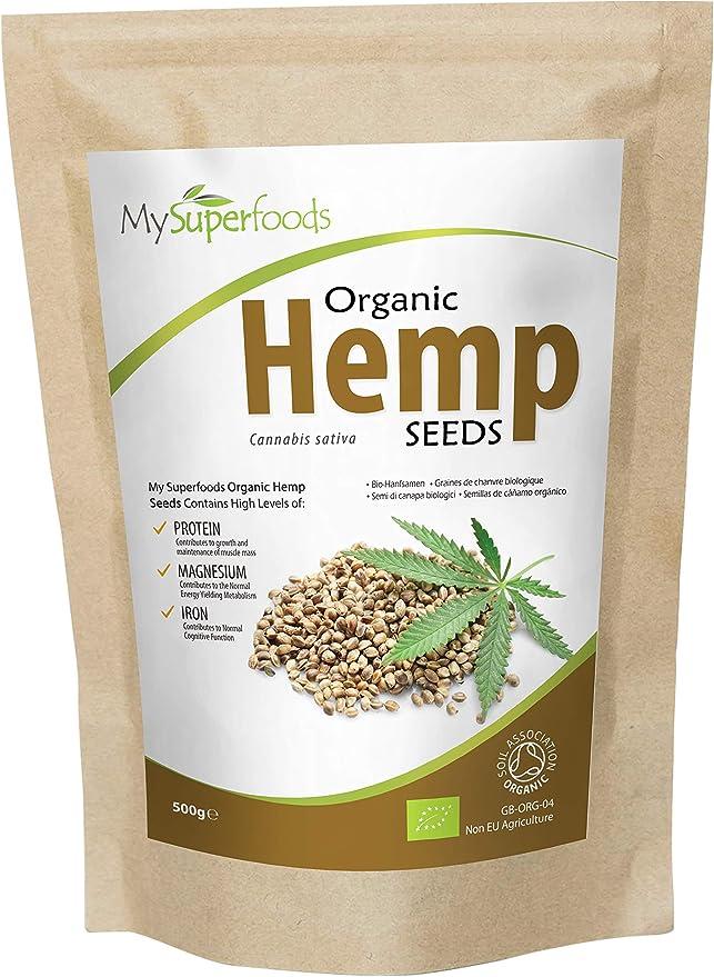 MySuperFoods Semillas de Cáñamo Orgánico 500g, Fuente Natural de Proteína Integral