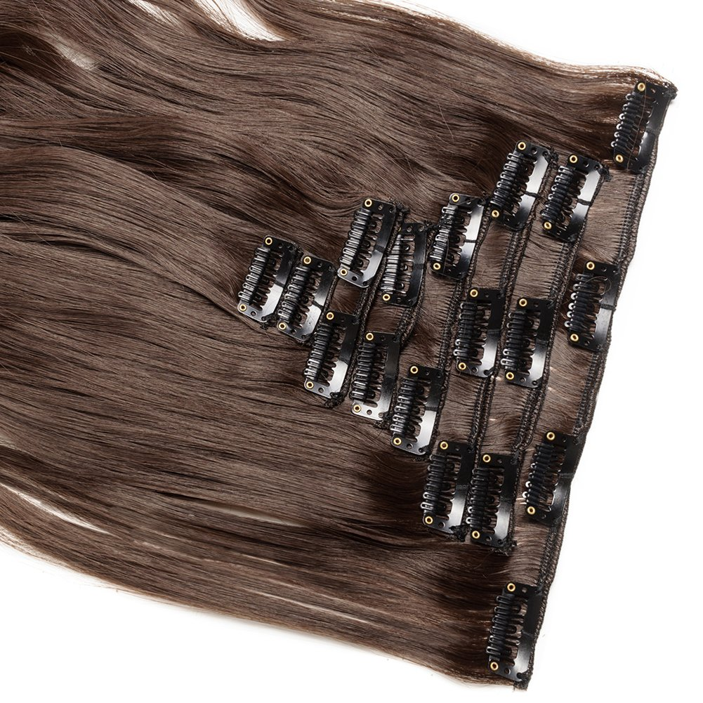 Clip in Hair Extensions Synthetic Full Head Charming Hairpieces Thick Long Straight 8pcs 18clips for Women Girls Lady (24 inches-wavy, medium brown) by Beauti-gant (Image #4)