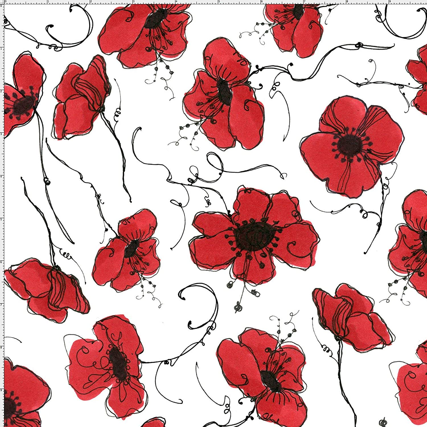 Loralie Designs - Poppies White Fabric by The Yard for Sewing - Loralie's Flower Fabric Collection - red and White Flower Fabric - 100% Cotton/Washable