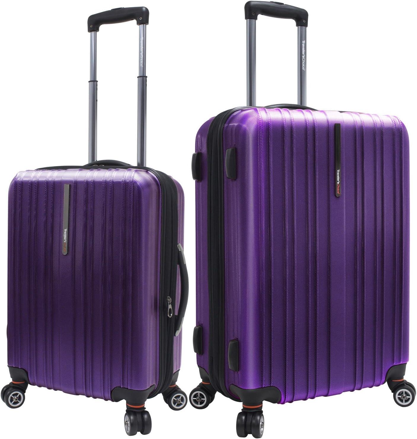 Traveler/'s Choice Tasmania 100/% Pure Polycarbonate 2-Piece Spinner Luggage Purple