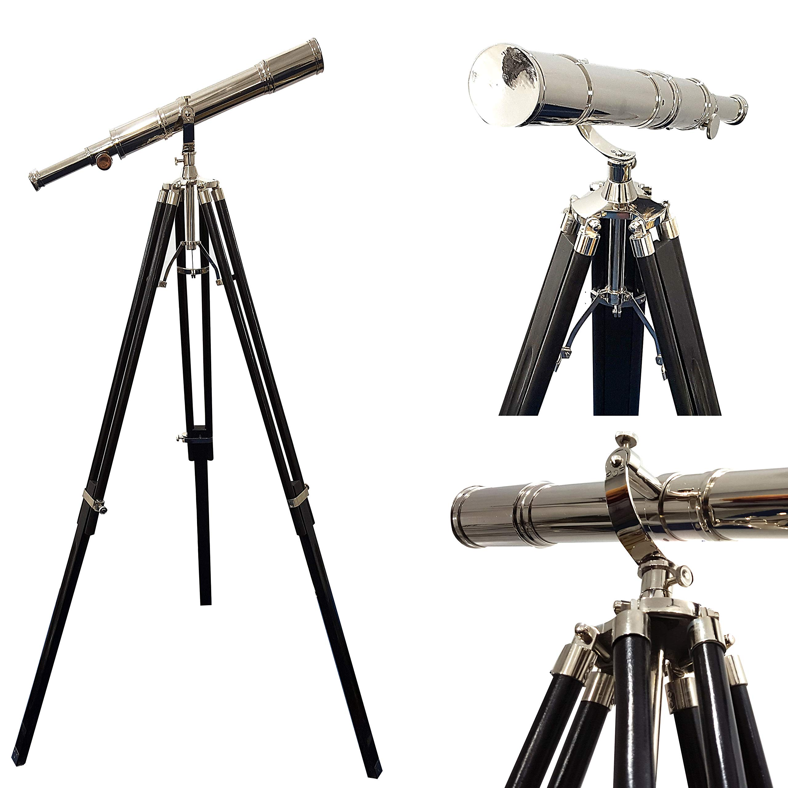 Maritime Vintage Floor Standing Brass Telescope | Chrome Finish Telescope 65''- Nautical Decor by Collectibles Buy