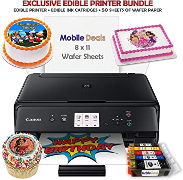 Mobile Deals Edible Birthday Cake Topper And Tasty Treats Image Printer Bundle   Includes Canon Wireless Printer, Edible Ink Cartridges And Wafer Paper Kit by Mobile Deals