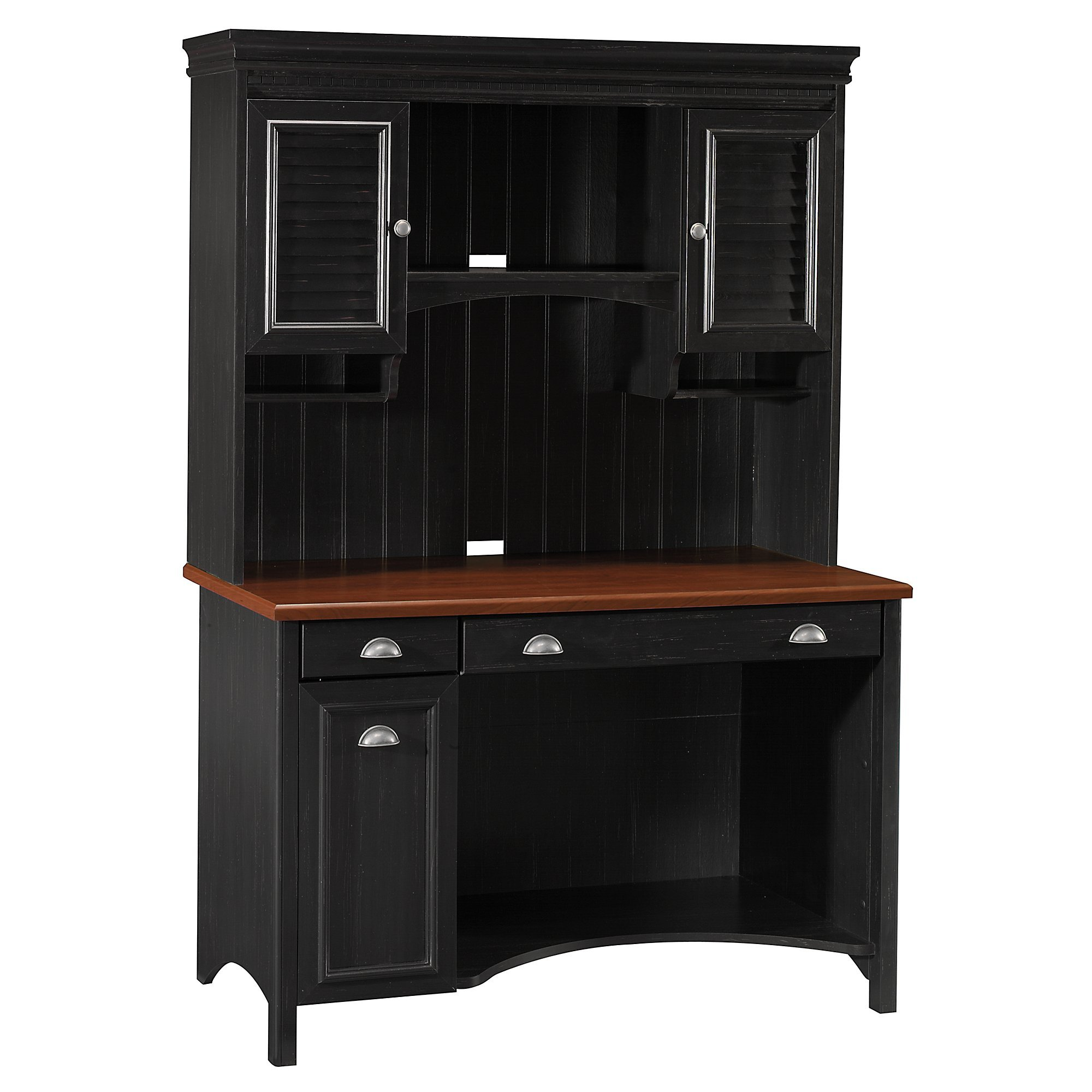 Bush Furniture Stanford Computer Desk with Hutch and Drawers in Antique Black by Bush Furniture