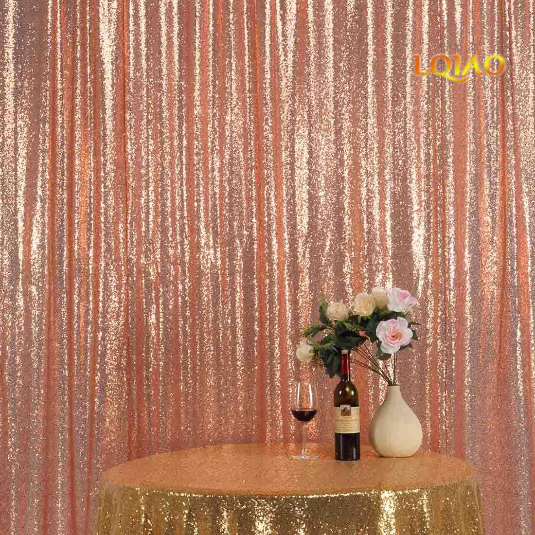 LQIAO 8x10フィート ローズゴールド スパンコール フォト背景 スパンコール 写真撮影用背景幕 結婚式/パーティー/ホーム/ベビーシャワー/誕生日装飾用   B07GPP7TR7