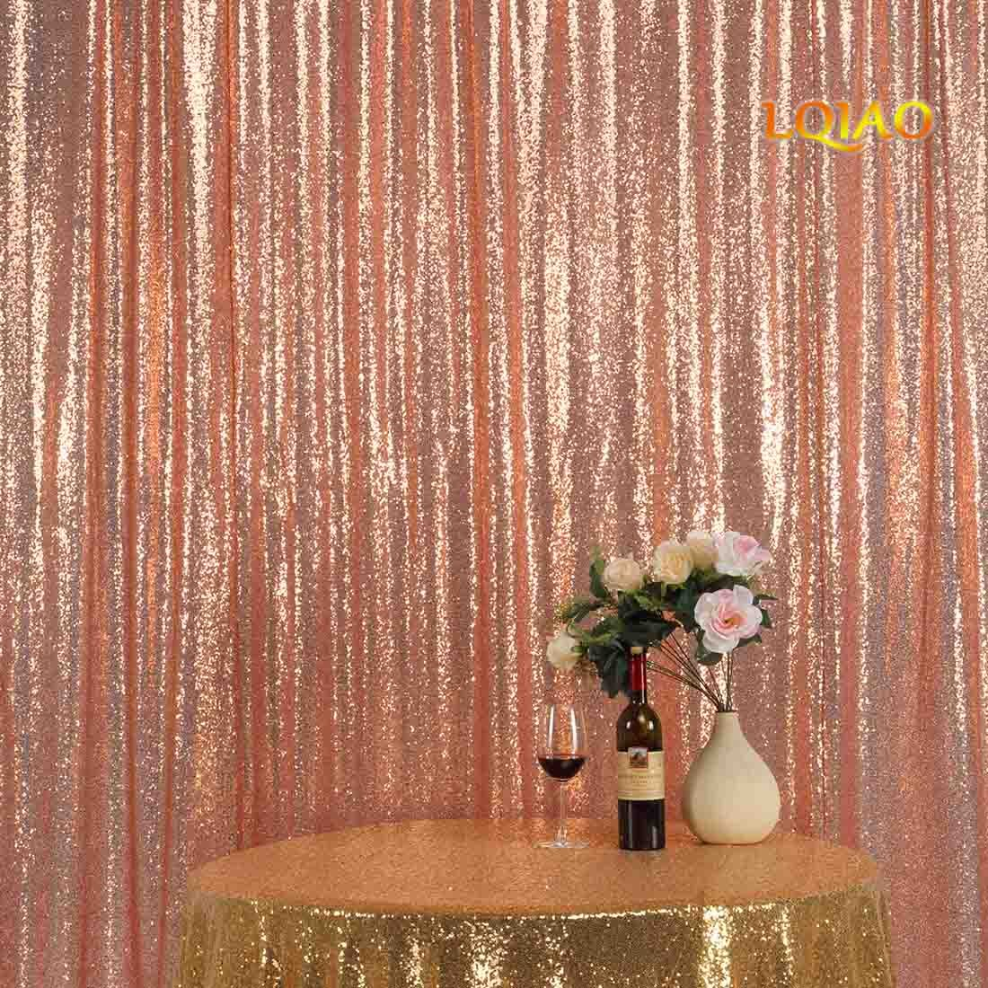 LQIAO Sequin Curtain 9X9FT-Rose Gold Sequin Backdrop Wedding Photo Booth Door Window Curtain for Halloween Party Wedding Decoration