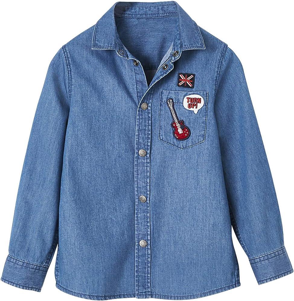 VERTBAUDET Camisa Vaquera con Parches para niño Azul Medio Lavado 2A: Amazon.es: Ropa y accesorios