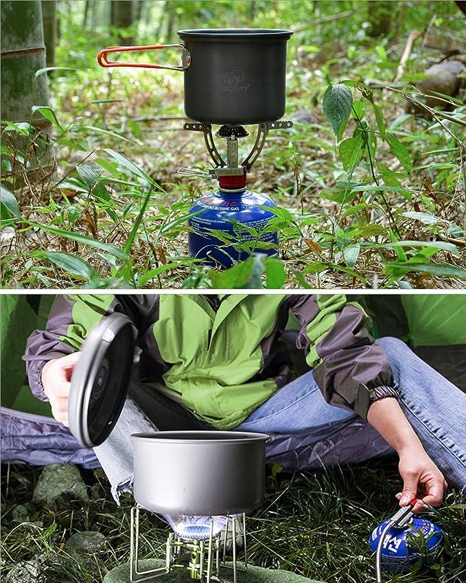 Bulin Camping Cookware Mess Kit al Aire Libre Mochila Senderismo Equipo de Cocina, Ligero, Compacto y Duradero Juego de Cocina