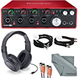 """Focusrite Scarlett 18i8 USB 2.0 Audio Interface Kit with 2 x ¼"""" Cable, 2 x XLR Cable, 2 MIDI to 2 MIDI (Dual) Cable, Samson Stereo Headphones, FiberTique Cleaning Cloth"""