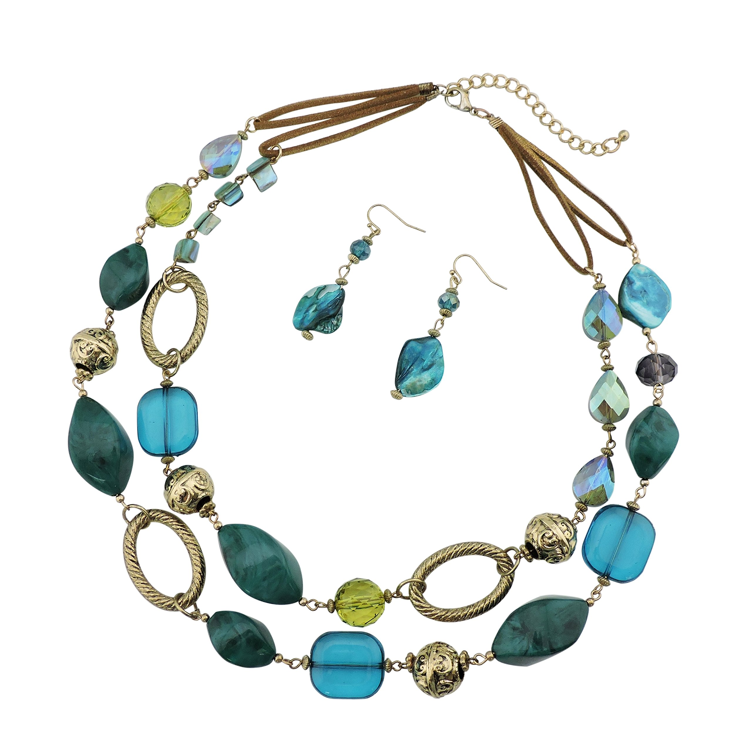 Bocar 2 Strand Statement Choker Shell Necklace and Earring Set for Women Gift (NK-10370-teal)