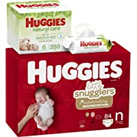 84 Count Huggies Little Snugglers Diapers (Newborn) + 288-Count HUGGIES Natural Care Unscented Baby Wipes