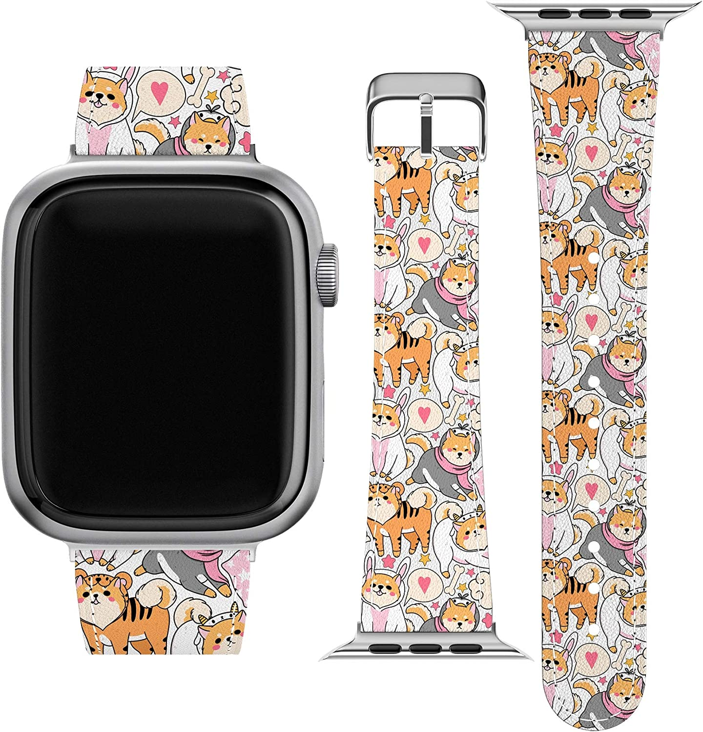 Lex Altern Band Compatible with Apple Watch Series 6 SE 5 4 3 2 1 38mm 40mm 42mm 44mm Kawaii Dog Shiba Inu Puppies Thin Vegan Leather Durable Stylish Print Pet Cute Japanese Replacement Strap wh431