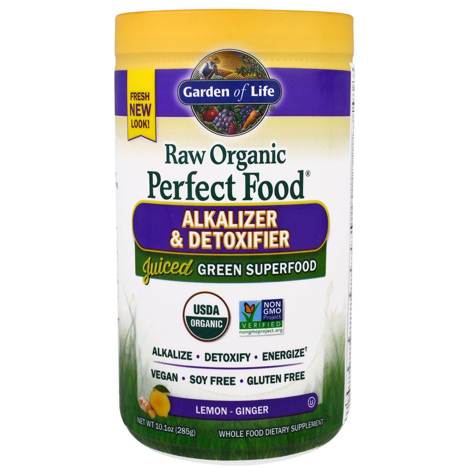 Garden of Life, Raw Organic Perfect Food, Alkalizer & Detoxifier, Lemon-Ginger, 10.1 oz (285 g)