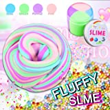 """Fluffy Slime, Rainbow Fluffy Floam 8 OZ Slime Jumbo Slime 4 Colors Stress Relief Toy Keep Your hands Busy With 4 Colors """"8 OZ""""( Blue Pink Green Purple)"""