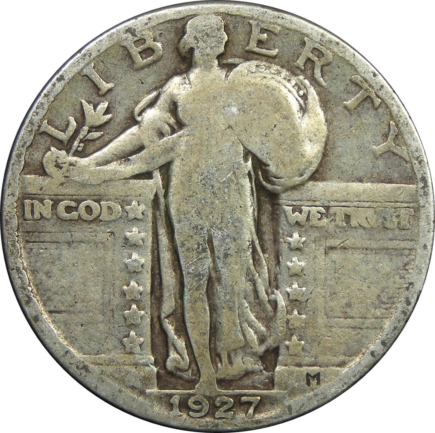 1917-1930 U.S. Standing Liberty Silver Quarter Dollar, Circulated Condition