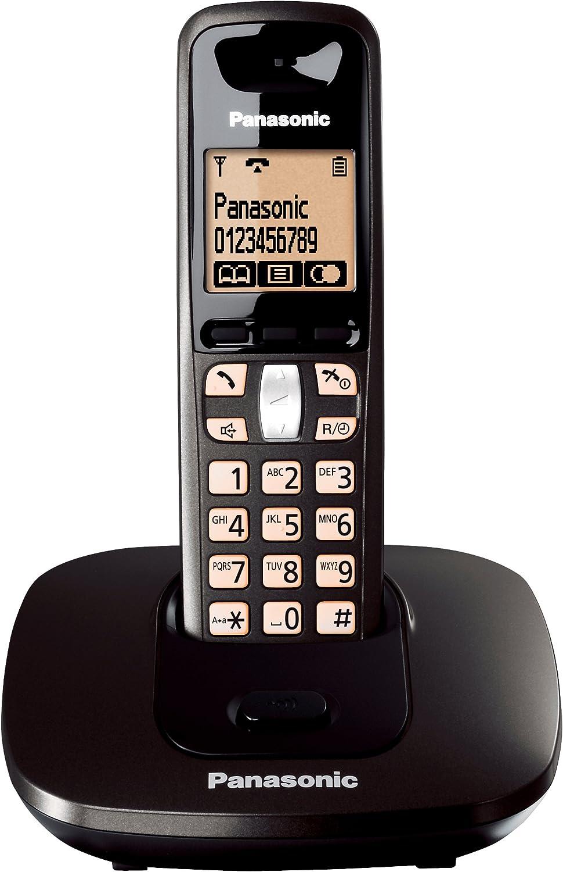 Panasonic KX-TG6411 - Teléfono (100 entradas, LCD, Ámbar, Monocromático, 103 x 65 Pixeles, Negro): Amazon.es: Electrónica