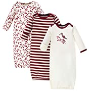 Touched by Nature Baby Organic Cotton Gowns, Berry Branch 3-Pack, 0-6 Months