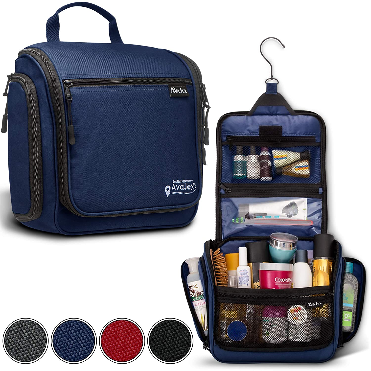 Premium Hanging Travel Toiletry Bag for Men and Women – Large Toiletry Organizer – Waterproof Hygiene Bag with Metal Swivel Hook, Durable Zippers and Large Capacity for Toiletries, Makeup, Cosmetics