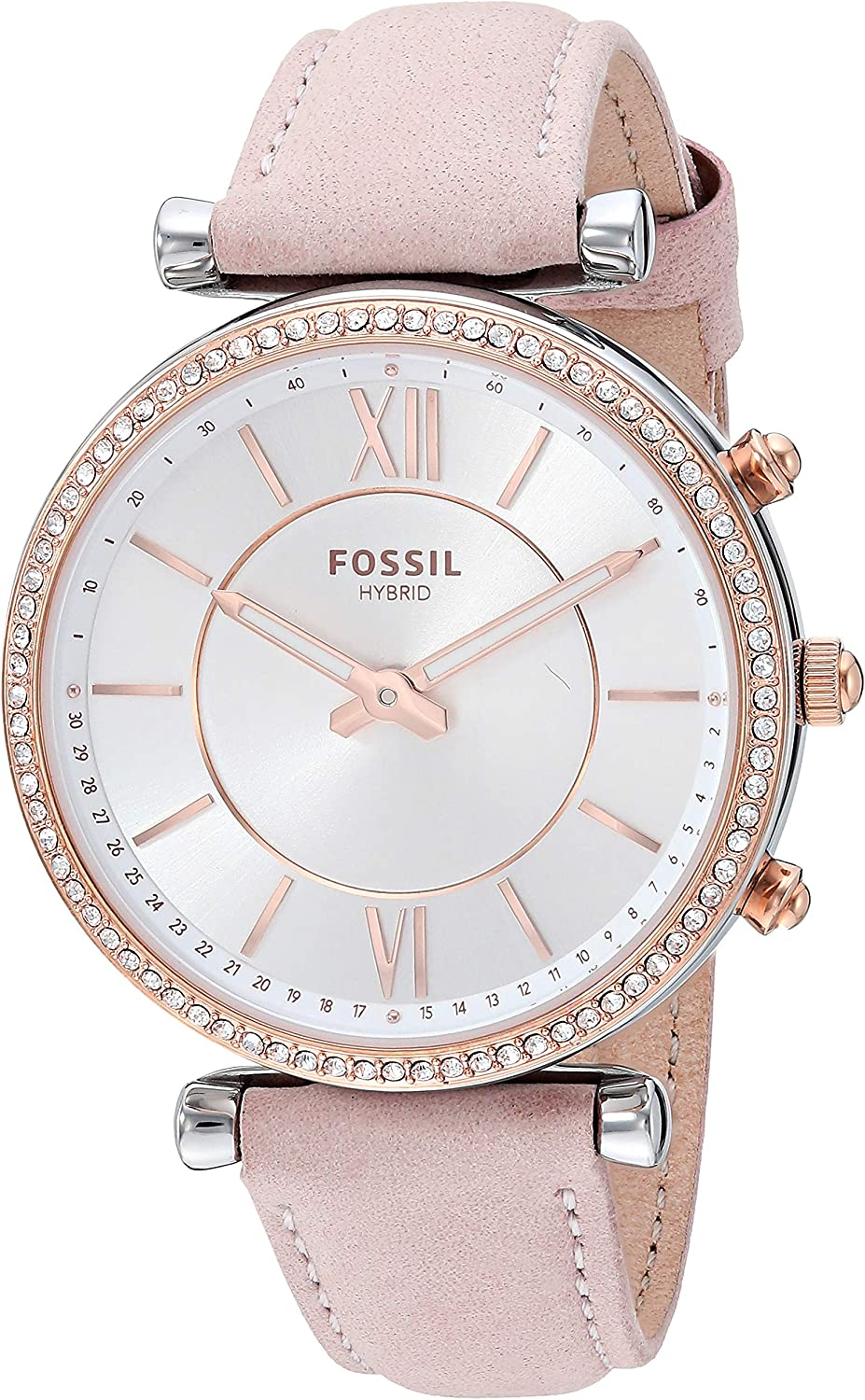Fossil Womens Carlie Stainless Steel Hybrid Smartwatch with Activity Tracking and Smartphone Notifications