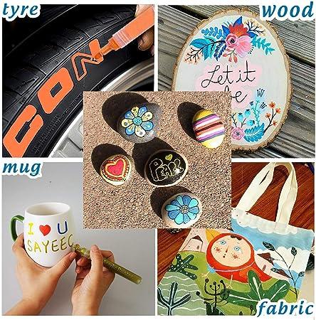 24 rotuladores de pintura colores surtidos para pintura de roca,vidrio, cerámica, porcelana, madera, tela, lona, la mejor opción para diseño de taza personalizable, proyectos de bricolaje