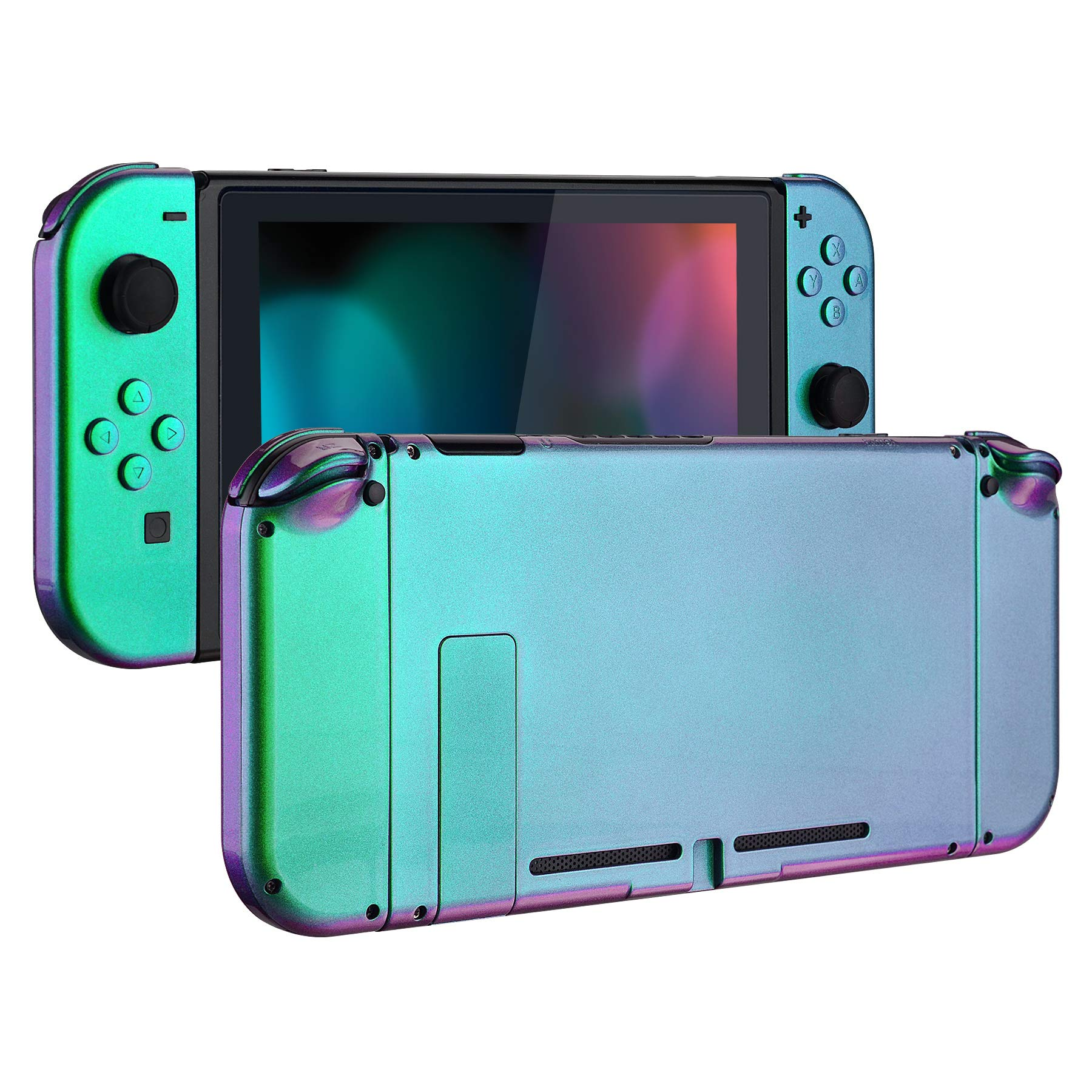 eXtremeRate Glossy Back Plate for Nintendo Switch Console, NS Joycon Handheld Controller Housing with Full Set Buttons, DIY Replacement Shell for Nintendo Switch - Chameleon Green Purple