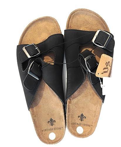 Vintage Mens Stone Double-Buckle Slide Sandals Black