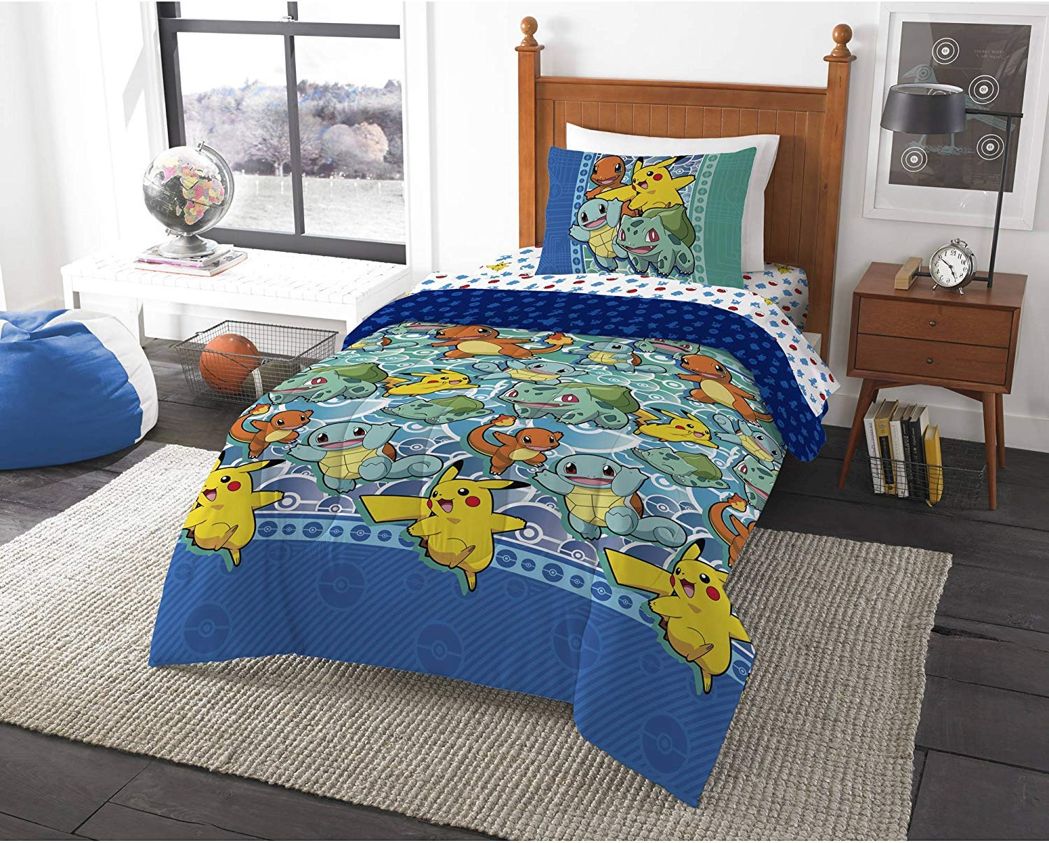 """Pokemon """"First Starters"""" Twin Bed in a Bag Bedding Set"""